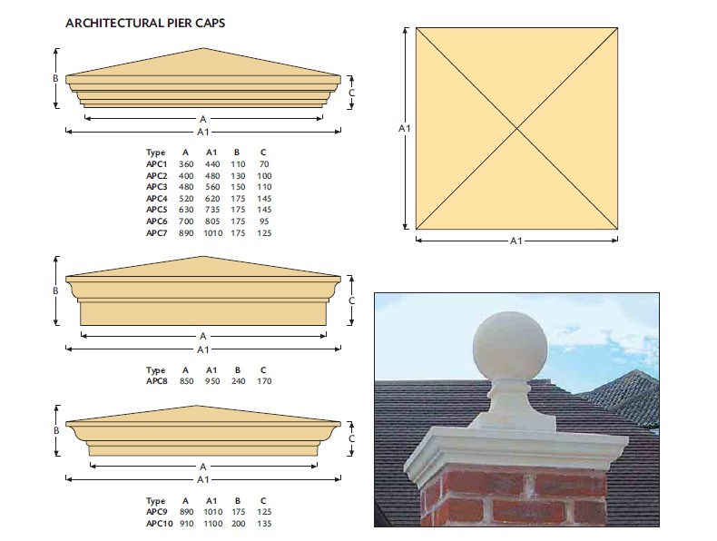 Architectural Cast Stone Pier Caps