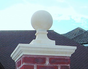 Cast stone ball finial
