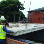 Wide slab floor beams
