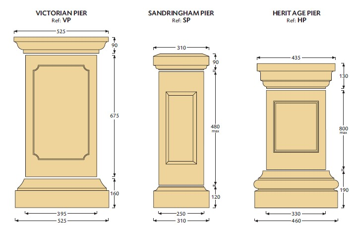 Victorian, Sandringham and Heritage Cast Stone Piers