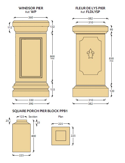 Windsor and Fleur de Lys Cast Stone Piers