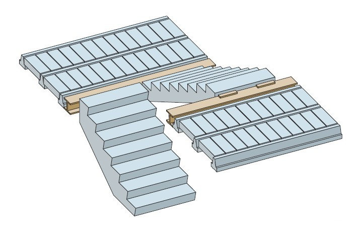stair layout with beam and block landing