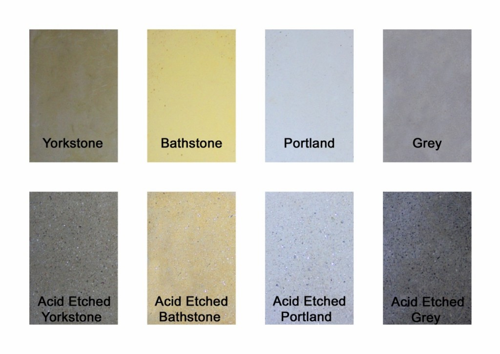 Wet cast concrete colour chart